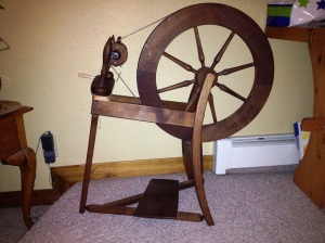 The spinning wheel I rented from the Valley Fiber Arts Guild